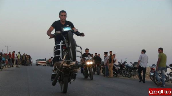 استعراضات لعشاق الدراجات النارية بغزة 3909989695.jpg