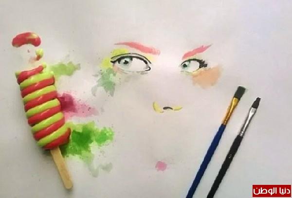 عراقي يرسم بالآيس كريم