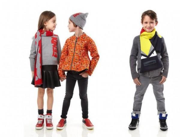 fd25ec3b48e60 شاهدي الصور التالية واستلهمي إطلالة أطفالك وطريقة تنسيق الملابس من أزياء فندي  Fendi لخريف شتاء 2016 2015.