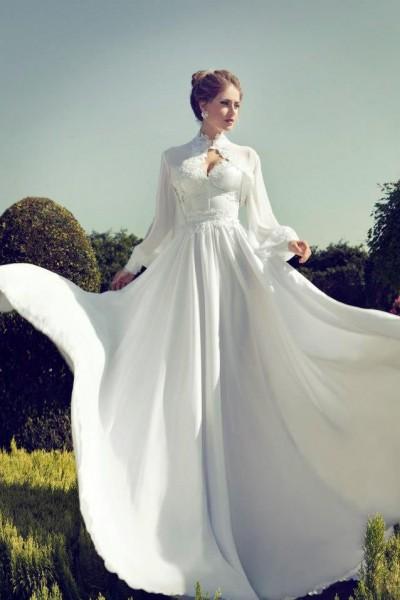 بالصور فساتين الزفاف الأكمام الطويلة