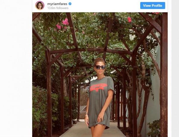 ميريام فارس تستحوذ على قميص زوجها وتنشر صورتها على انستغرام