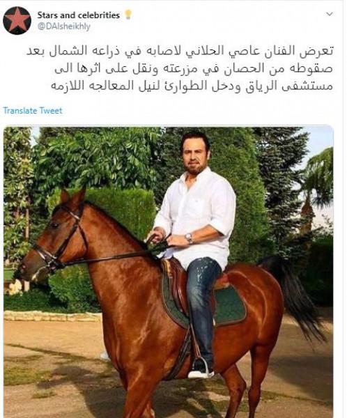 عاصي الحلاني يتعرض لحادث سقوط عن ظهر حصانه في مزرعته