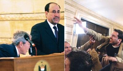 صحفي عراقي يرشق بوش بالحذاء في وجهه خلال مؤتمر صحفي..شاهد الفيديو