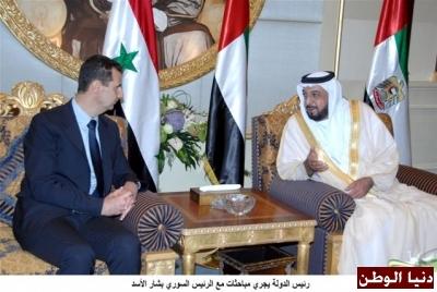 رئيس دولة الامارات يقلد الرئيس السوري وسام زايد تعبيرا عن عمق العلاقات التي تربط البلدين