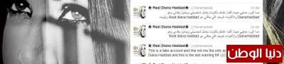منتحل شخصية ديانا حداد يعترف..وهي نشيطة على التويتر