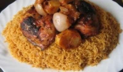 الدجاج المتبل المشوي الأرز