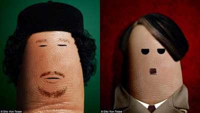 بالصور..فنان إيطالى يرسم صور القذافى وهتلر على أصابع الإبهام