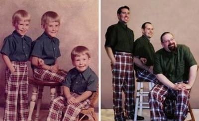 بالصور.. إعادة تمثيل صورة من الطفولة