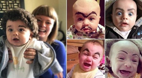 ماذا لو كان للأطفال الرضّع شوارب وحاجبين عريضين !!