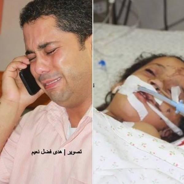 """طفلة ولدت بعد 3 محاولات زراعة وأصيبت في قصف اسرائيلي..والدها يصرخ:""""خدوا من دمي وعيشوها"""""""