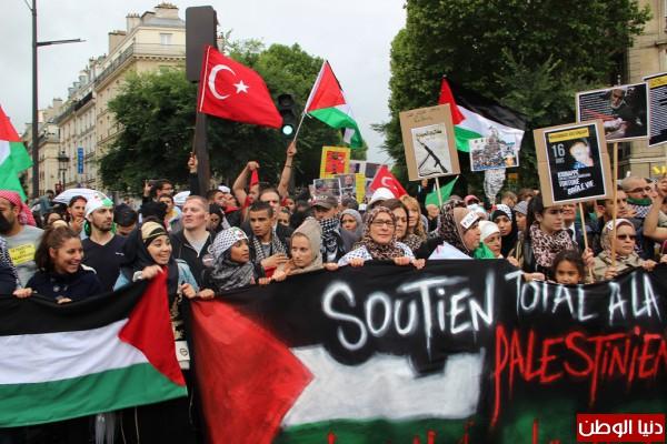 بالصور.. مظاهرة حاشدة وسط باريس نصرة لقطاع غزة