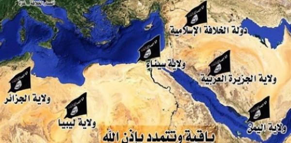 داعش تنشر صورة الولايات الجديدة بما فيها سيناء والجزائر