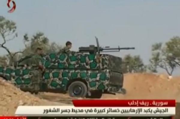بالفيديو ..الجيش السوري يكبد الجماعات المسلحة خسائر كبيرة في محيط جسر الشغور بريف إدلب