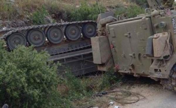 إصابة 7 جنود إسرائيليين بانقلاب مدرعة