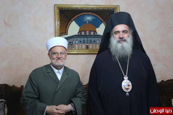 """المطران عطا الله حنا والشيخ عكرمة صبري : """" نعم للحفاظ على السلم الاهلي في مدينة القدس """""""