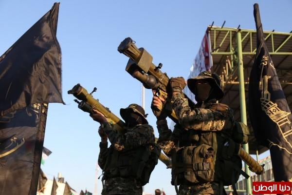 (صور) يحتوي على أسلحة مطورة .. عرض عسكري لسرايا القدس في مهرجان رباط الدم برفح