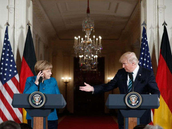 Merkel was less than impressed with Trump's attempt at a joke about Obama