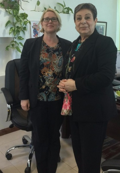 Ashrawi's upcoming Sweden visit focus of meeting with Consul General Nilsson