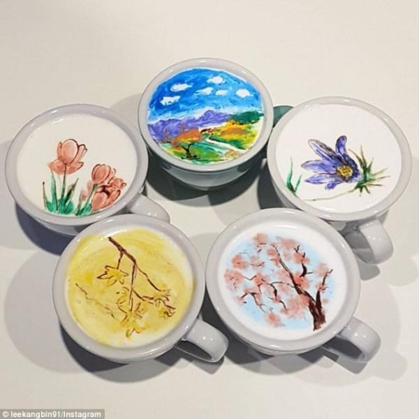فنان كوري يعيد الحياة للرسم على القهوة بالألوان