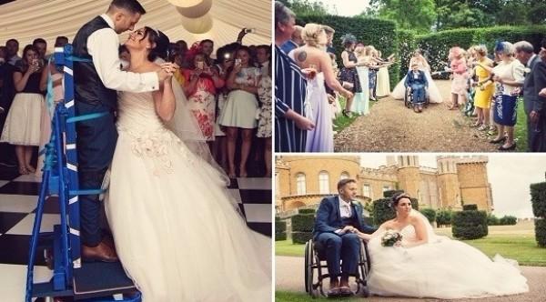 مؤثر: وقف في زفافه للمرة الأولى بعد إصابته بالشلل