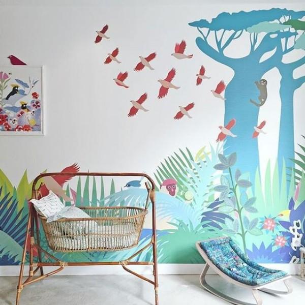ألوان غرف أطفال بنقوشات الطبيعة