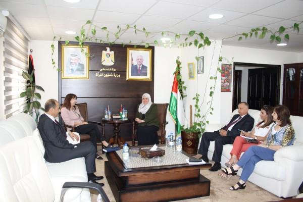 وزارة شؤون المرأة تستقبل المديرة الجديدة لبرنامج تعزيز العدالة الفلسطينية