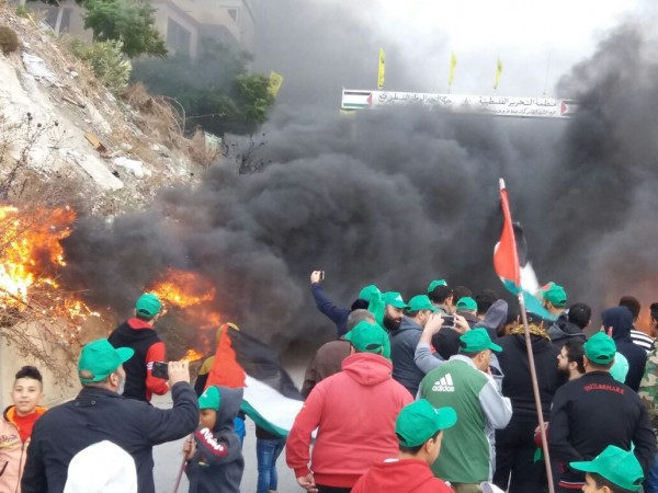 الأقسام الشبابية في حركة حماس تنظم اعتصاماً في مخيم الميه وميه