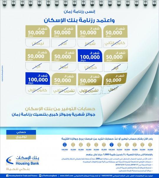 بنك الإسكان فروع فلسطين يعلن إطلاق حملة جوائز حسابات التوفير