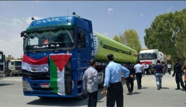 إدخال 40 شاحنة محملة بالوقود المصري لمحطة توليد الكهرباء بغزة