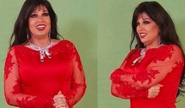 صور: فيفي عبده بفستان أحمر قصير وبكامل أنوثتها