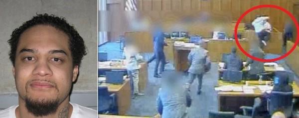 فيديو.. شاهد لحظة إطلاق النار على متهم داخل محكمة أمريكية