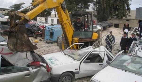 إتلاف 435 مركبة غير قانونية في رام الله والخليل وجنين
