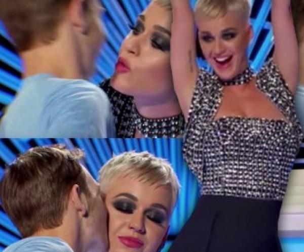 """فيديو: كاتي بيري تقبل شاب في برنامج """"American Idol""""..شاهد ردة فعله"""