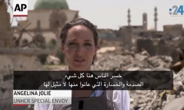أنجلينا جولي تبكي بسبب ما شاهدته في مدينة الموصل العراقية