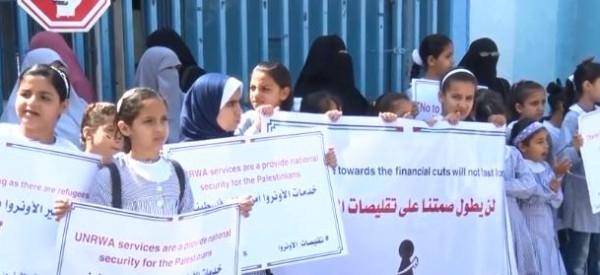 شاهد: اعتصام نسوي ضد سياسة تقليص مساعدات (أونروا) في غزة