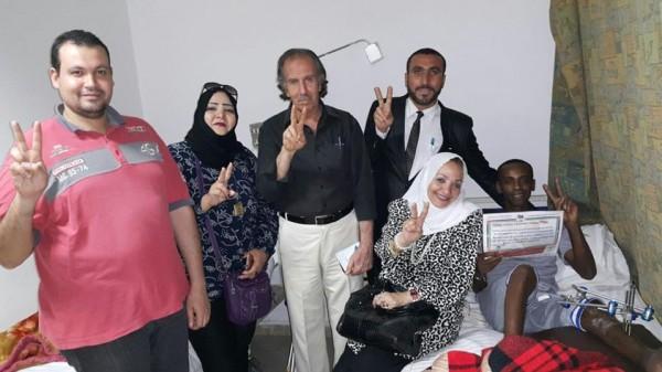 التجمع الفلسطيني للوطن والشتات يزور جرحى مسيرة العودة بمستشفى الهرم