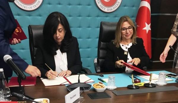 عودة ونظيرتها التركية توقعان على اتفاقية لتشجيع وحماية الاستثمارات المتبادلة بين البلدين