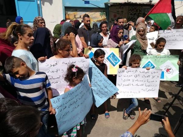 اعتصام في عين الحلوة احتجاجاً على قرار  قطع التمويل عن الأونروا