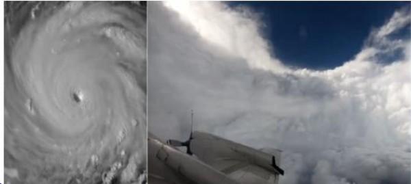 """لقطات مخيفة لطائرة أمريكية اخترقت عين إعصار """"فلورانس"""""""