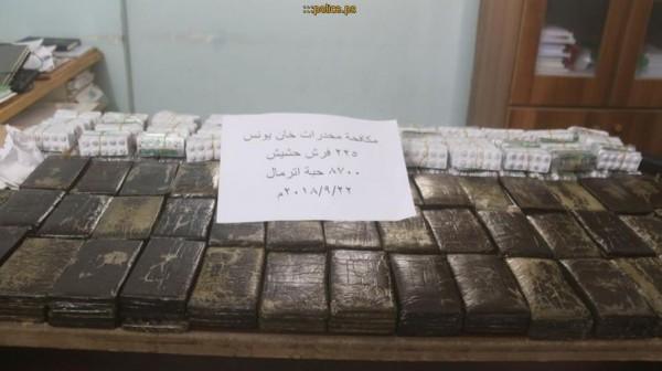 شرطة مكافحة المخدرات تضبط 225 فرش حشيش و8700 حبة أترمال برفح وخانيونس