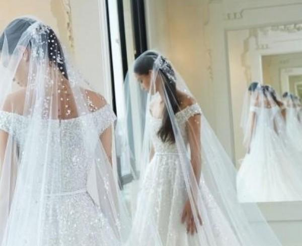 فساتين زفاف فخمة بطرحات طويلة لعروس 2019