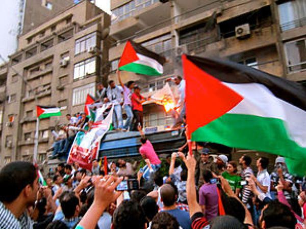 شاهد: جزائري وتونسي يرفعان العلم الفلسطيني فوق القنصلية الإسرائيلية