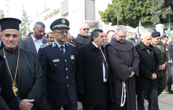 الشرطة تؤمن وتشارك بمراسم استقبال حارس الأراضي المقدسة في بيت لحم