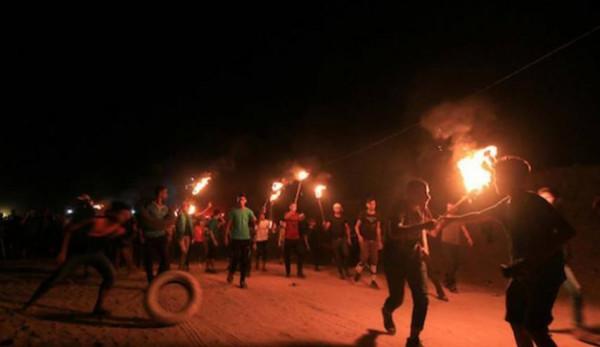 الجماهير الفلسطينية تستأنف فعاليات الإرباك الليلي شرقي القطاع