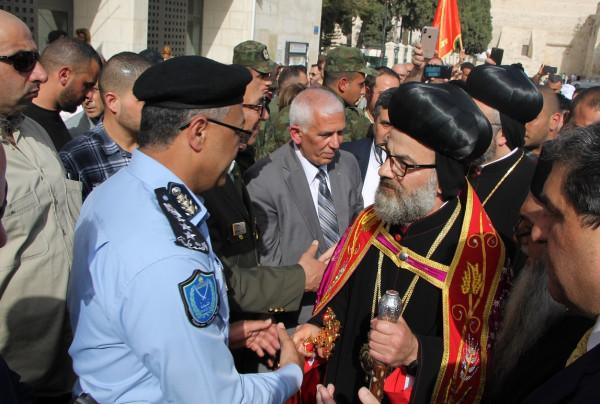 الشرطة تؤمن وتشارك بمراسم استقبال النائب البطريركي للسريان الارثوذكس ببيت لحم