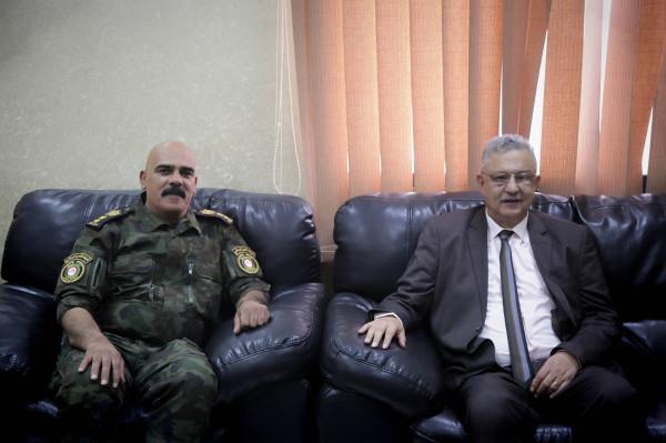المحافظ أبو بكر يزور قائد منطقة طولكرم ويبارك له تسلم مهام عمله