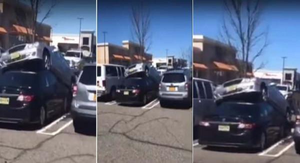 شاهد: سائق مرسيدس يركن سيارته على قمة سيارة تويوتا