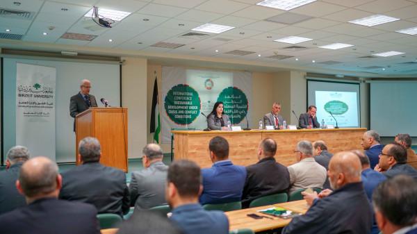 """جامعة بيرزيت تفتتح فعاليات المؤتمر الدولي """"التنمية المستدامة في ظل الأزمات والصراعات"""""""