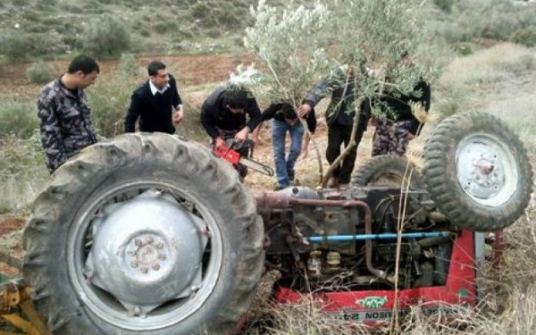 مصرع مواطن بحادث انقلاب جرار زراعي جنوب جنين