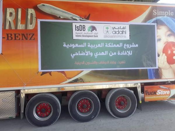 شاهد: وصول قافلة اللحوم السعودية لقطاع غزة
